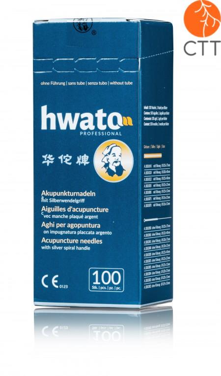 HWATO ohne Führung, versilberter Spiralgriff, 100 Nadeln pro Box