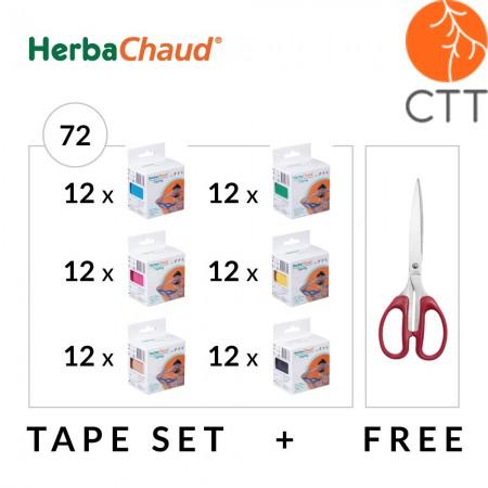 HerbaChaud Tape Set 72 Rollen + Schere, 5cm x 5m
