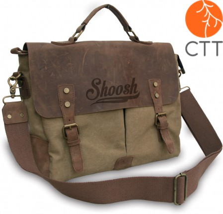 Shoosh® 100%Canvas Leder A4-Hand- und Laptoptasche, khaki, Soft Material, Eco-f