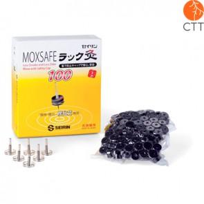 MOXSAFE von Seirin, Nachfuellpackung mit 100 Stück Moxakohle und 6 Moxatraegern