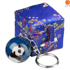 Schlüsselanhänger PANDA  blau, mit Klang